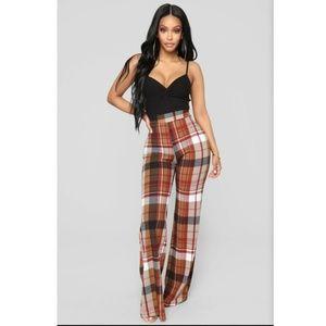 Fashion Nova Jahia Flare Plaid Print Pants